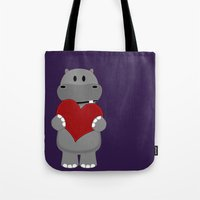 A Hippo with Heart Tote Bag