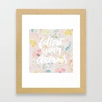 follow your dreams in watercolor field Framed Art Print