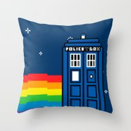 Throw Pillow featuring TARDIS / Nyan / 8-Bit Po… by Colin Capurso