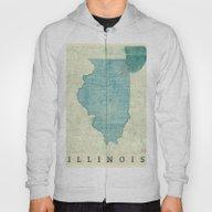 Illinois Map Blue Vintag… Hoody