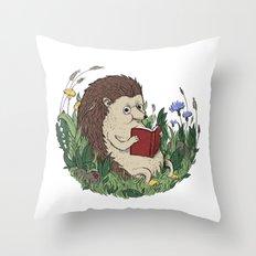 Hedgehog Reading A Book Throw Pillow