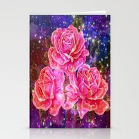 Roses with sparkles and purple infusion Stationery Cards
