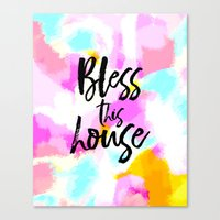 Bless this house - bright abstract typography Canvas Print