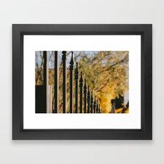 iron fence, yellow leaves Framed Art Print