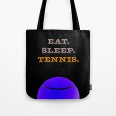 Eat. Sleep. Tennis. (White with Blue) Tote Bag