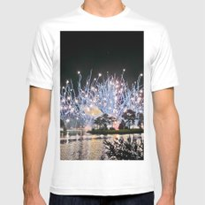 Firework White SMALL Mens Fitted Tee