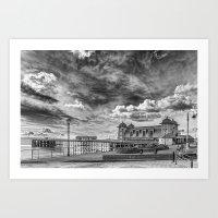 Penarth Pier Morning Light 1 Monochrome Art Print