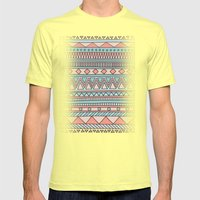 Tribal #4 (Coral/Aqua) Mens Fitted Tee Lemon SMALL