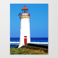 Red and white lighthouse Canvas Print