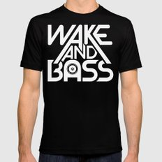 Wake And Bass (White) Black SMALL Mens Fitted Tee