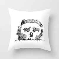 Bunny Skull Throw Pillow