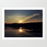 Sunset, Lake lanier Art Print