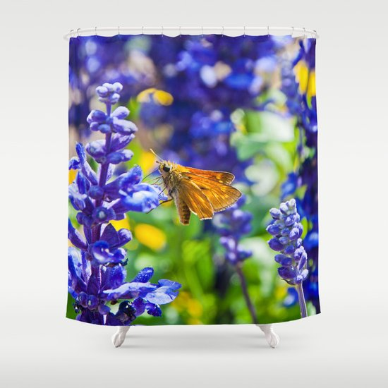 Butterfly On Lavender Shower Curtain By Pirmin Nohr