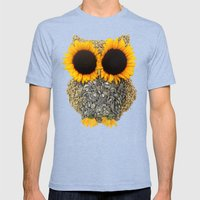 Hoot! Day Owl! Mens Fitted Tee Tri-Blue SMALL