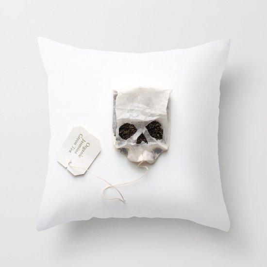 253. Tea Bag Skull Throw Pillow