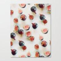 Fresh Figs On Linen Canvas Print