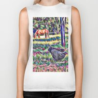 Horses And Hens In A Fie… Biker Tank