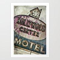 Grunge Hollywood Motel Sign Art Print