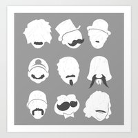 Famous Moustaches grey Art Print