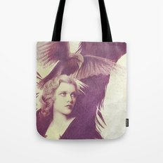 Purple vintage girl with raven Tote Bag
