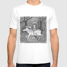 Fox riding moose Mens Fitted Tee SMALL White