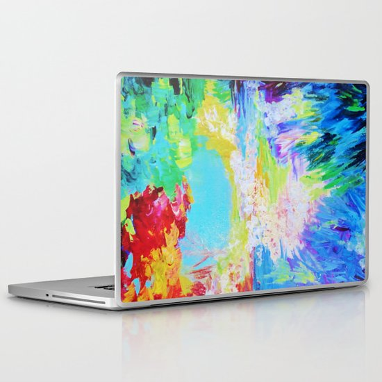 IN DREAMS - Gorgeous Bold Colors, Abstract Acrylic Idyllic Forest Landscape Secret Garden Painting Laptop & iPad Skin