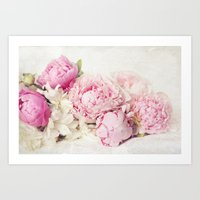 Peonies on white Art Print