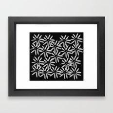 Tiny White Flowers on Black Background Framed Art Print