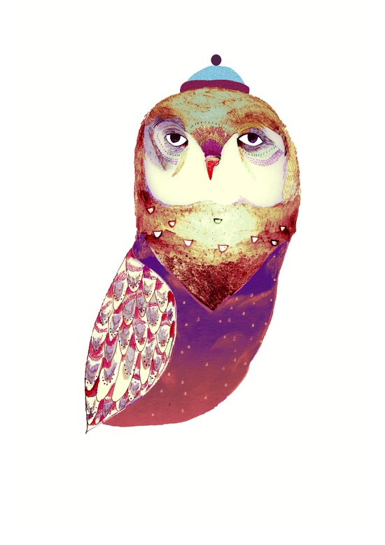 Purple Owl Art Print