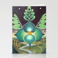 Green Flower Stationery Cards