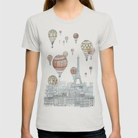 Voyages Over Paris Womens Fitted Tee Silver SMALL