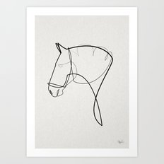 One line Horse 1403 Art Print