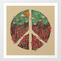 landscape Art Prints featuring Peaceful Landscape by Hector Mansilla