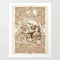 Skull Flower Art Print Art Print