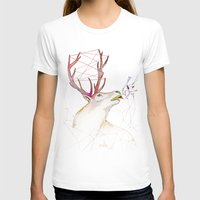 October Deer Womens Fitted Tee White SMALL