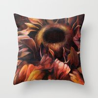 Brown Sunflower Throw Pillow