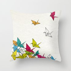 cranes origami Throw Pillow