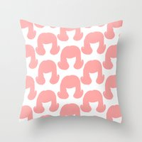 Pink Bouffants Throw Pillow