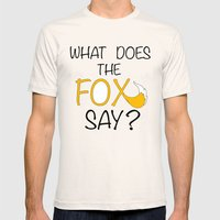 What Does The Fox Say  Mens Fitted Tee Natural SMALL