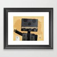 Happy Robot Happy Cat Framed Art Print