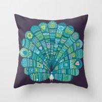 Peacock at noon Throw Pillow