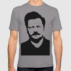 Ron Swanson Mens Fitted Tee Athletic Grey SMALL