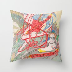The Legendary Panda Brother & Dragon Sister  / Original A4 Illustration / Colored Pencil & Ink Throw Pillow