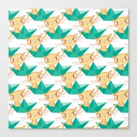 Pea Green boat Pattern Canvas Print