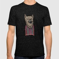 Hipster Wolf Mens Fitted Tee Tri-Black SMALL