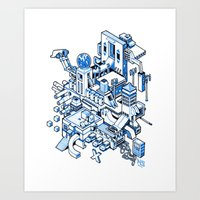 Small City - Blue Art Print