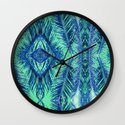Tropical Palm Blue Wall Clock