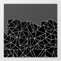 Ab Lines 45 Black Canvas Print