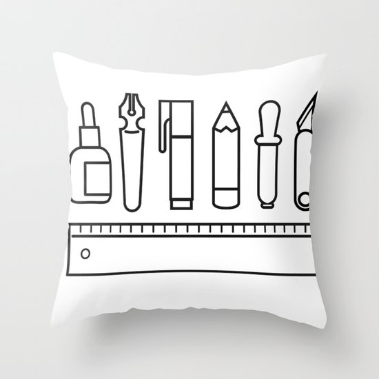 CREATIVE TOOLS / Geometrical portrait of my creative tools. Throw Pillow