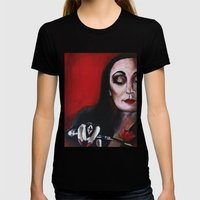 Morticia Addams Womens Fitted Tee Black SMALL